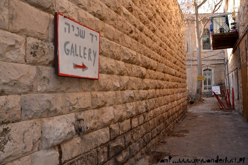 sign to the gallery on Jaffa Street in Jerusalem