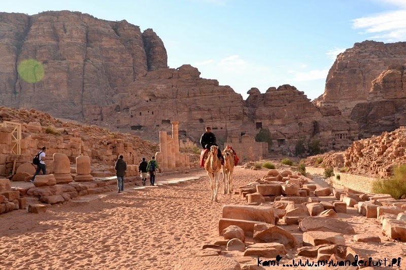 riding a camel in Petra