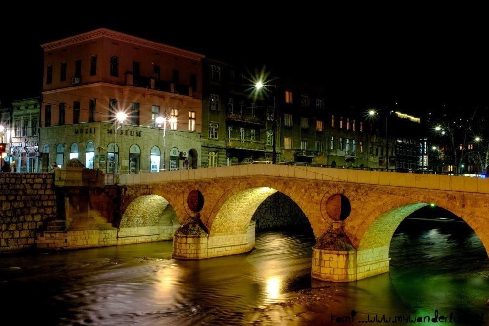 Latin Bridge in Sarajevo at night